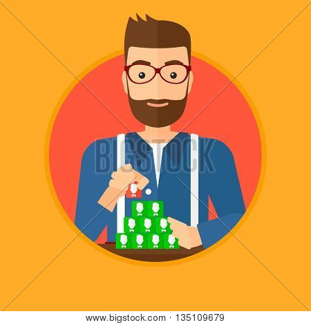 Hipster man with beard making pyramid of network avatars. Man building his social network. Networking and communication concept. Vector flat design illustration in the circle isolated on background.