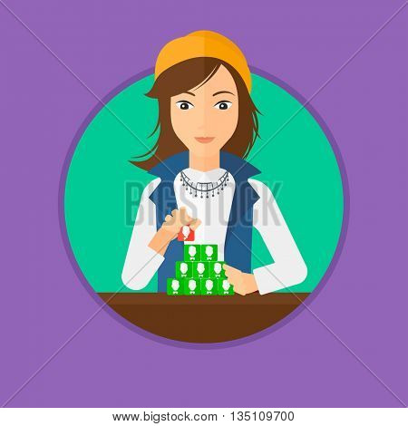 Young woman making pyramid of network avatars. Woman building her social network. Networking and communication concept. Vector flat design illustration in the circle isolated on background.