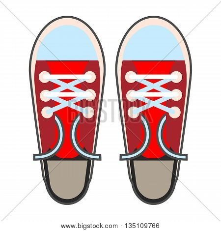 Sneakers vector icon. Colored line icon of sport footwear