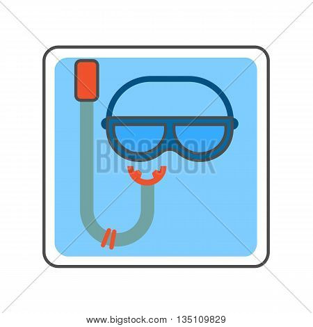 Snorkel vector icon. Colored illustration of snorkel and mask for scuba diving