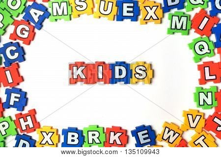 Puzzle Kids on white background. jigsaw, puzzle