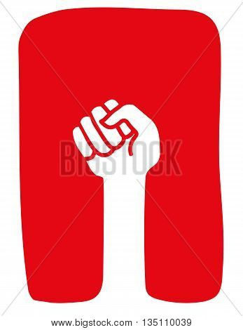Stylized clenched fist raised in a power salute or protest gesture in white on a red background