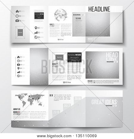 Vector set of tri-fold brochures, square design templates with element of world map and globe. Molecular construction with connected lines and dots, scientific or digital design pattern on gray background.