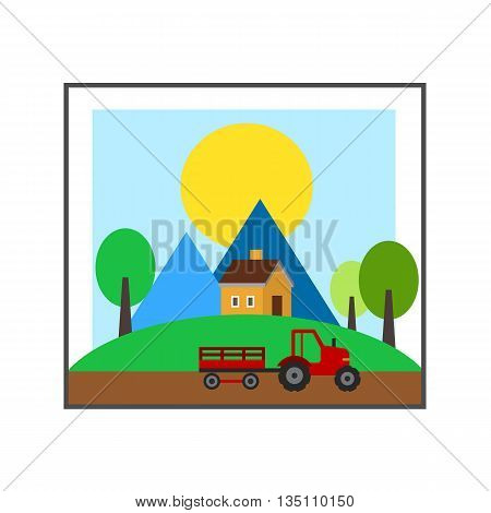 Summer time vector icon. Colored line icon of countryside landscape