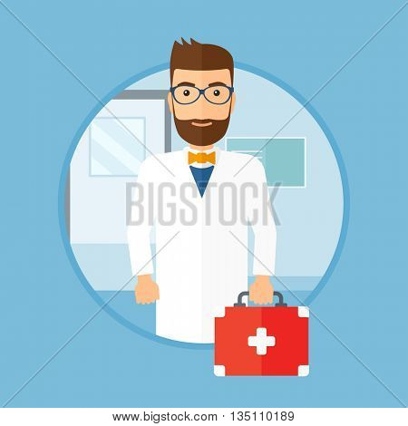 Male hipster doctor with the beard holding first aid box. Doctor in uniform with first aid kit standing in the hospital corridor. Vector flat design illustration in the circle isolated on background.
