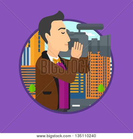 Young cameraman looking through movie camera. Man with professional video camera in the city. Cameraman shooting outdoor. Vector flat design illustration in the circle isolated on background.
