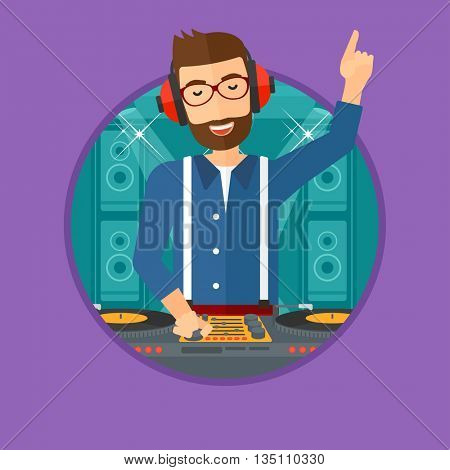 Hipster young DJ with the beard mixing music on turntables on the stage of nightclub. DJ playing and mixing music on deck. Vector flat design illustration in the circle isolated on background.