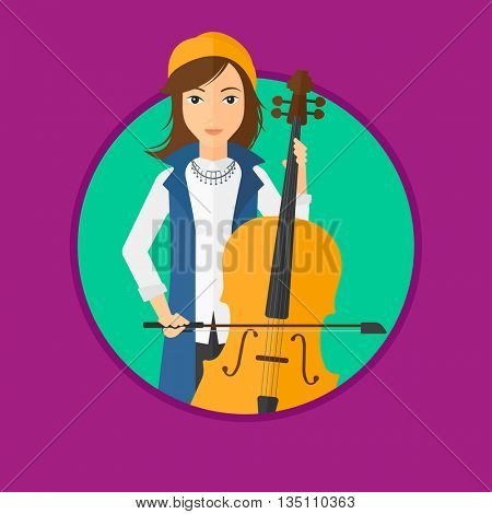 Young woman playing cello. Cellist playing classical music on cello. Young woman with cello and bow. Vector flat design illustration in the circle isolated on background.