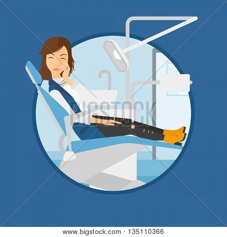 Young patient sitting at the chair at the dental office. Sad woman suffering from tooth pain. Woman having a toothache. Vector flat design illustration in the circle isolated on background.