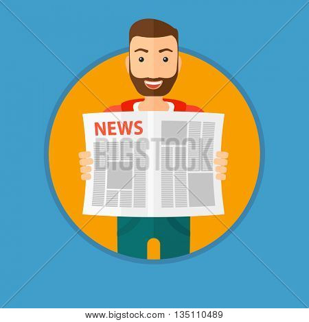 A happy hipster man with the beard reading the newspaper. Young smiling man reading good news. Man with newspaper in hands. Vector flat design illustration in the circle isolated on background.