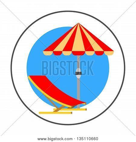 Sun umbrella vector icon. Colored line icon of sun umbrella and beach chair