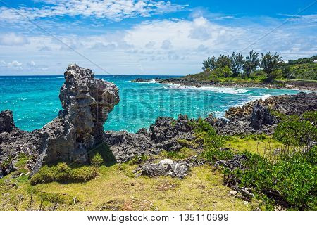 Lava rock formations and pristine turquoise colored water along the coastline of Bermuda.
