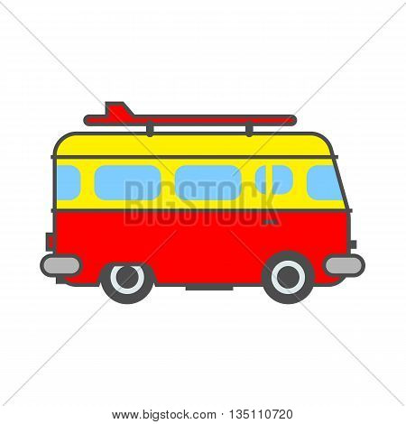 Surf board bus icon. Colored line icon of bus with surf board