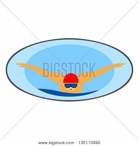 Swimming vector icon. Colored line icon of male character in swimming hat and glasses swimming in butterfly style
