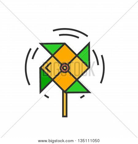 Windmill vector icon. Colored line icon of windmill toy