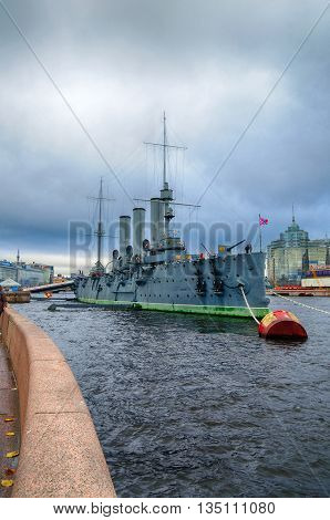 ST PETERSBURG RUSSIA - OCTOBER 21 2012. City view of Aurora - linear cruiser the symbol of the October revolution in Russia hdr effect applied.