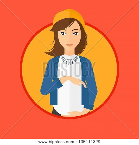 Pregnant woman holding her hands on belly. Pregnant woman touching her belly. Young happy pregnant woman. Vector flat design illustration in the circle isolated on background.