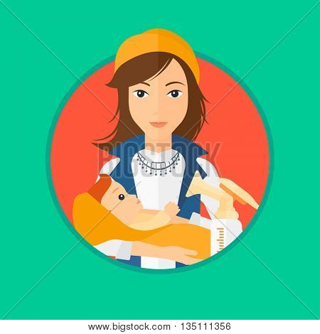 Mother holding a newborn baby in hands. Woman and breast pump. Young mother feeding her baby. Young mother nursing baby. Vector flat design illustration in the circle isolated on background.