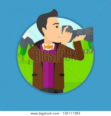 Young man taking a photo of landscape. Photographer taking a picture in the mountains. Nature photographer with digital camera. Vector flat design illustration in the circle isolated on background.