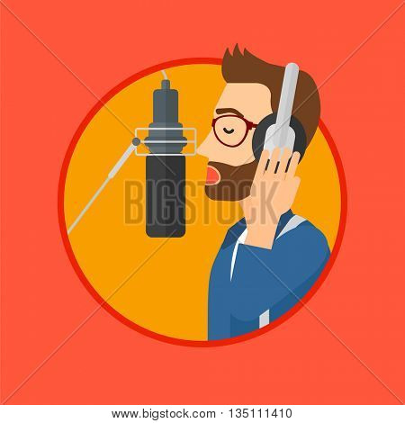 Young man in headphones singing in recording studio. Hpster singer making a record of his voice. Young singer recording a song. Vector flat design illustration in the circle isolated on background.