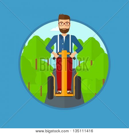A hipster man with the beard driving electric scooter in the park. Man on self-balancing electric scooter with two wheels. Vector flat design illustration in the circle isolated on background.