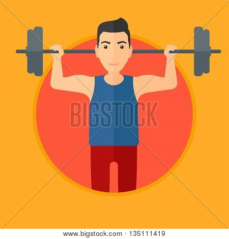 Sporty man lifting a heavy weight barbell. Strong sportsman doing exercise with barbell. Male weightlifter holding a barbell. Vector flat design illustration in the circle isolated on background.