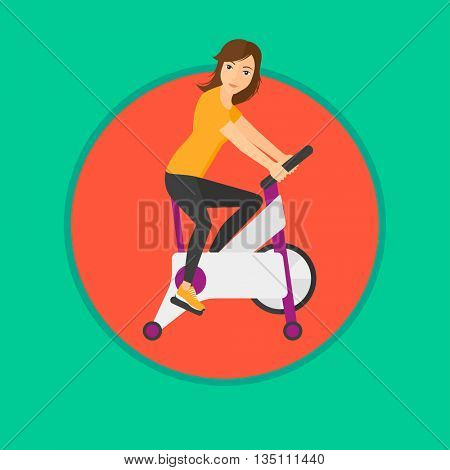 Woman riding stationary bicycle. Sporty woman exercising on stationary training bicycle. Woman training on exercise bike. Vector flat design illustration in the circle isolated on background.