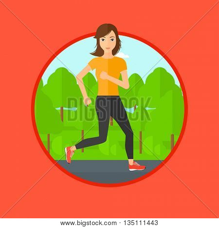 Young woman running. Female sportive runner jogging outdoors. Sports woman running in the park. Running woman on forest road. Vector flat design illustration in the circle isolated on background.
