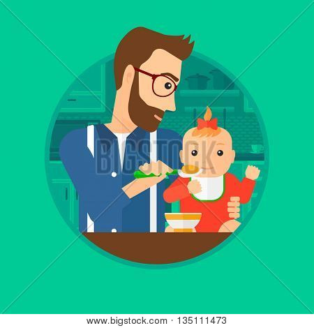 Father feeding baby girl at home. Young father teaching baby girl to eat with spoon. Father spoon-feeding her baby at kitchen. Vector flat design illustration in the circle isolated on background.