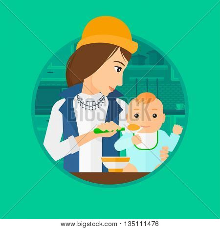 Mother feeding baby boy at home. Young mother teaching baby boy to eat with spoon. Mother spoon-feeding her baby at kitchen. Vector flat design illustration in the circle isolated on background.