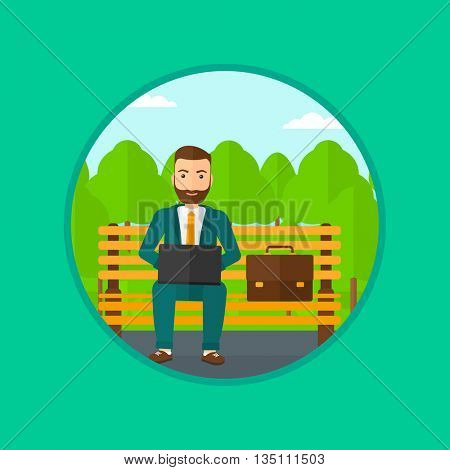 A hipster businessman with the beard working in the park. Man working on a laptop. Businessman sitting on a bench with laptop. Vector flat design illustration in the circle isolated on background.