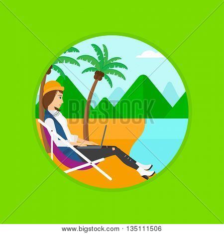 Business woman sitting in chaise lounge and working on a laptop. Woman working on beach. Woman with laptop relaxing on the beach. Vector flat design illustration in the circle isolated on background.