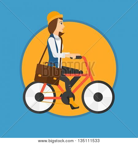 Young woman riding a bicycle. Cyclist riding bike. Business woman with briefcase on a bike. Healthy lifestyle concept. Vector flat design illustration in the circle isolated on background.