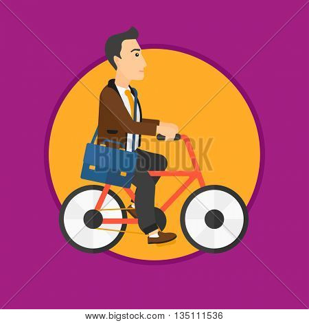 Young man riding a bicycle. Cyclist riding bike. Businessman with briefcase on a bike. Healthy lifestyle concept. Vector flat design illustration in the circle isolated on background.