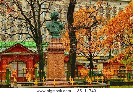 ST PETERSBURG RUSSIA - OCTOBER 21 2012. Monument to Peter the Great in St Petersburg closeup autumn architecture view