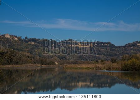 View of the Tiber River in the nature reserve Nazzano