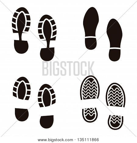 Collection of a imprint soles shoes. Vector illustration