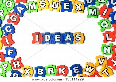 Puzzle Ideas on white background.  jigsaw, puzzle,