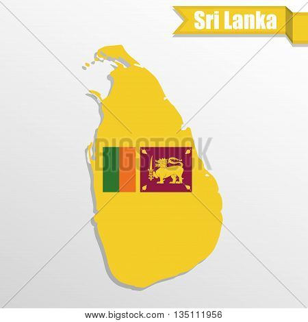 Sri Lanka map with flag inside and ribbon