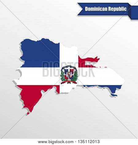 Dominican Republic map with flag inside and ribbon