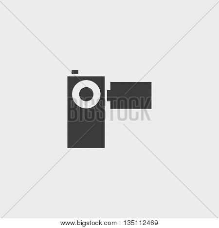 Video camera icon in a flat design in black color. Vector illustration eps10