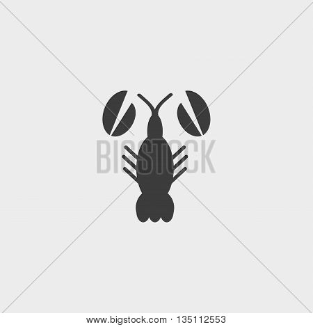 Lobster Icon in a flat design in black color. Vector illustration eps10