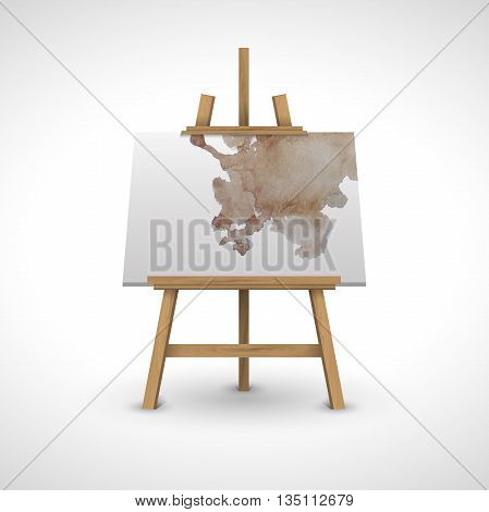 blank canvas on a wooden easel with watercolor on a white background