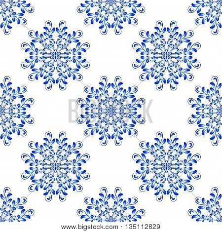 Vector Seamless Blue Floral Mandala Pattern. Seamless pattern for your designs invitation card yoga meditation astrology and other wrapped projects. Pattern in swatches panel.