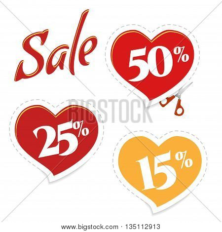 Cutting sticker discounts. Sale banner red heart, scissors. Sale and special offer. Up to 25. 15. 50 off.