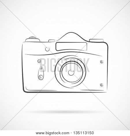 Vector Retro camera in thin line design isolated on white background. Photocamera vector outline icon. Element for your retro photo and cinema projects.