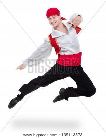 Dancing man wearing a toreador costume jumping. Isolated on white background in full length.