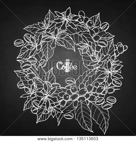 Graphic coffee wreath isolated on chalkboard. Vector floral decoration