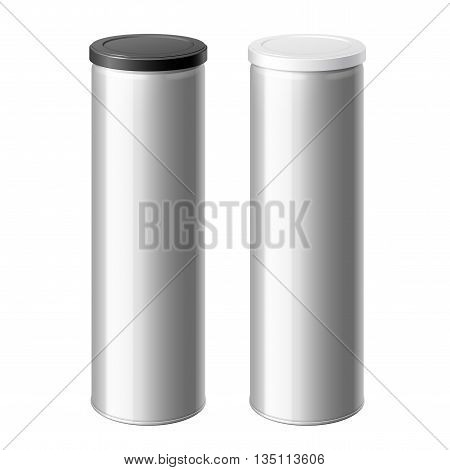 metal can set with a black and White lid. Packing for coffee or loose products. Bank for sugar salt pepper and spices. Template For Mock up Your Design. vector illustration.
