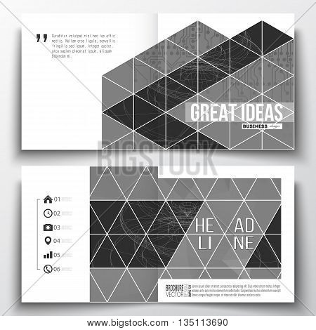Vector set of square design brochure template. Microchip background, electrical circuits, construction with connected lines, scientific or digital design pattern, science design vector template.